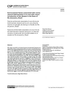 Environmental factors associated with canine visceral ... - SciELO