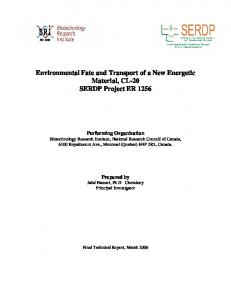 Environmental Fate and Transport of a New Energetic ...