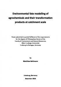 Environmental fate modelling of agrochemicals and their ...