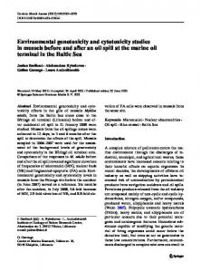 Environmental genotoxicity and cytotoxicity studies in mussels before ...