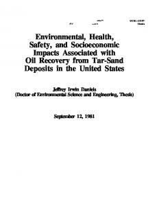 Environmental, Health, Safety, and Socioeconomic ...