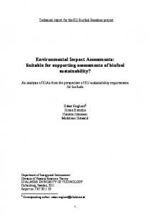 Environmental Impact Assessments - Chalmers Publication Library