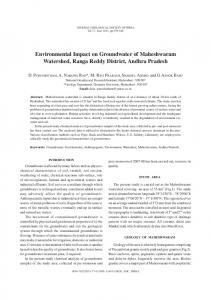 Environmental Impact on Groundwater of