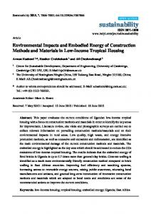 Environmental Impacts and Embodied Energy of Construction - MDPI
