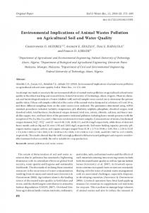 Environmental Implications of Animal Wastes ... - Agricultural Journals