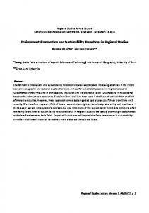 Environmental Innovation and Sustainability Transitions in ... - CiteSeerX