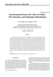 Environmental Issues for Cities in China: SO2 Emissions and ...