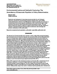 Environmental Justice and Hydraulic Fracturing: The ... - ScholarWorks