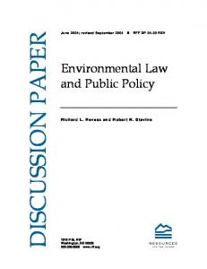 Environmental Law and Public Policy