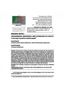 ENVIRONMENTAL MOVEMENTS, INSTITUTIONS AND CIVIL ...