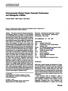 Environmental Mutual Funds: Financial Performance ... - Springer Link