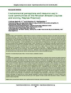 Environmental perceptions and resource use in rural communities of ...