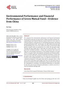 Environmental Performance and Financial Performance of Green ...