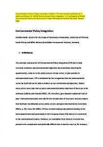 Environmental Policy Integration