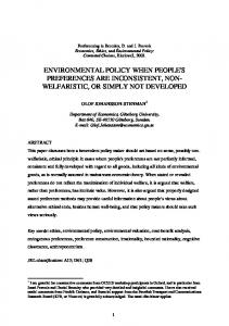 ENVIRONMENTAL POLICY WHEN PEOPLE'S PREFERENCES ARE ...