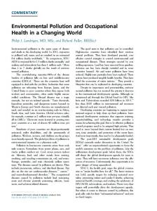 Environmental Pollution and Occupational Health in a Changing World