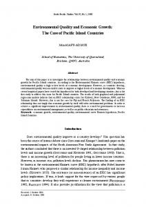 Environmental Quality and Economic Growth: The Case of Pacific ...