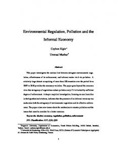 Environmental Regulation, Pollution and the Informal Economy