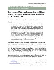 Environmental Research Organizations and Climate Change Policy