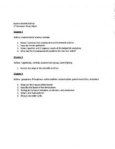 Environmental Science 1st Semester Study Guide Chapter 1 Define ...
