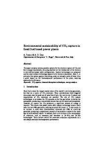 Environmental sustainability of CO2 capture in fossil fuel based power ...
