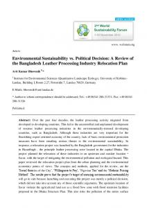Environmental Sustainability vs. Political Decision: A ... - Sciforum
