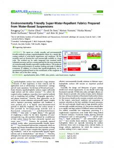 Environmentally Friendly Super-Water-Repellent ... - ACS Publications