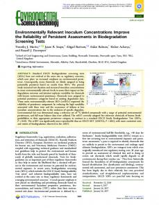 Environmentally Relevant Inoculum ... - ACS Publications