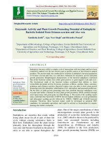 Enzymatic Activity and Plant Growth Promoting Potential of Endophytic ...