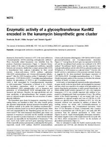 Enzymatic activity of a glycosyltransferase KanM2 encoded in ... - Nature