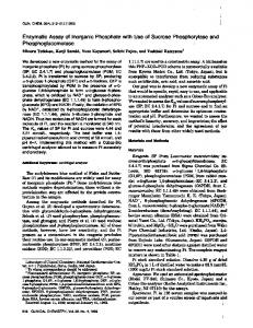 Enzymatic Assay of Inorganic Phosphate with Use ... - Clinical Chemistry