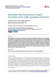 Enzymatic Characterisation of Lignin Peroxidase from ...