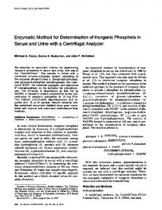 Enzymatic Method for Determinationof Inorganic ... - Clinical Chemistry