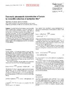 Enzymatic photometric determination of lactate by ...