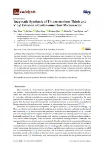 Enzymatic Synthesis of Thioesters from Thiols and Vinyl Esters ... - MDPI