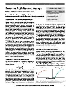 Enzyme Activity and Assays