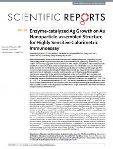 Enzyme-catalyzed Ag Growth on Au Nanoparticle ...