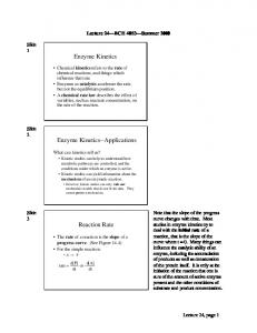 Enzyme Kinetics Enzyme Kinetics--Applications Reaction Rate