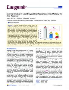 Enzyme Kinetics in Liquid Crystalline Mesophases - American ...