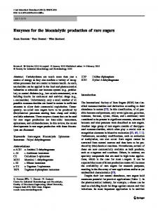 Enzymes for the biocatalytic production of rare sugars - Springer Link