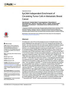 EpCAM-Independent Enrichment of Circulating Tumor Cells in ... - PLOS
