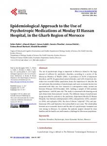 Epidemiological Approach to the Use of Psychotropic Medications at ...