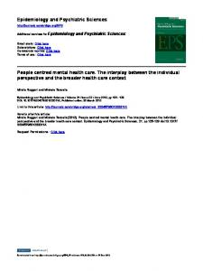Epidemiology and Psychiatric Sciences People