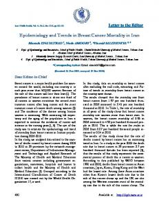 Epidemiology and Trends in Breast Cancer Mortality in Iran