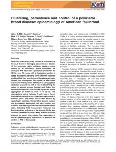 epidemiology of American foulbrood - Wiley Online Library