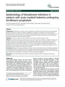 Epidemiology of bloodstream infections in patients ... - BioMedSearch