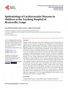 Epidemiology of Cardiovascular Diseases in Children ...