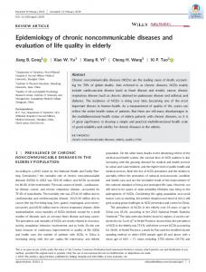 Epidemiology of chronic noncommunicable ... - Wiley Online Library