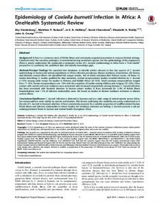 Epidemiology of Coxiella burnetii Infection in Africa: A ... - Plos