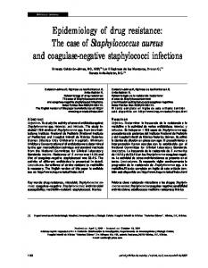 Epidemiology of drug resistance: The case of Staphylococcus aureus